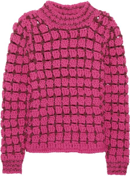 Marc Jacobs Hand Crocheted Wool Blend Sweater in Pink - Lyst