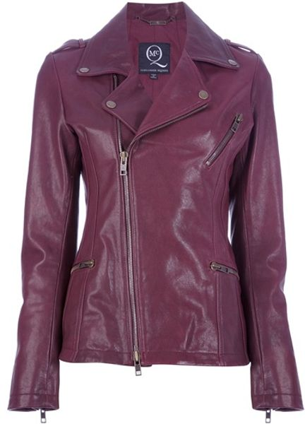 Mcq By Alexander Mcqueen Biker Jacket in Purple (oxblood) - Lyst