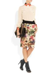 Preen Cottage Printed Sateen and Wool Skirt in Multicolor (multicolored) - Lyst