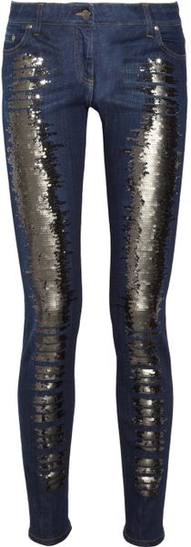 Roberto Cavalli Sequined Lowrise Skinny Jeans in Blue (indigo) - Lyst