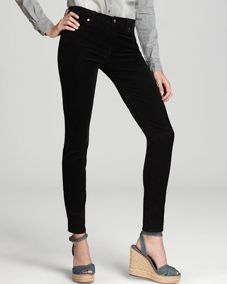 7 For All Mankind Pants The Skinny Luxe Pfd Corduroy in Black in Black - Lyst
