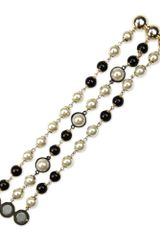 Anne Klein Gold Tone Jet Glass Pearl Beaded 3row Flex Bracelet - Lyst
