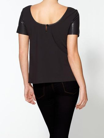 Aryn K. Vegan Leather Trim Top - Lyst