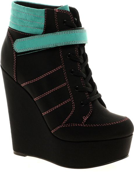asos asos lify wedge ankle boots in black lyst
