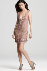Badgley Mischka Mark James By Beaded Dress Sleeveless V Neck - Lyst