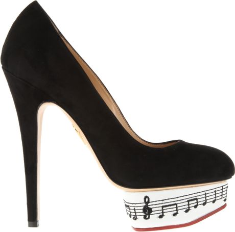 Charlotte Olympia Dance with Me Pumps in Black Suede in White (black)