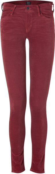 Citizens Of Humanity Rosewood Avedon Ultra Skinny Velvet Pants in Red - Lyst
