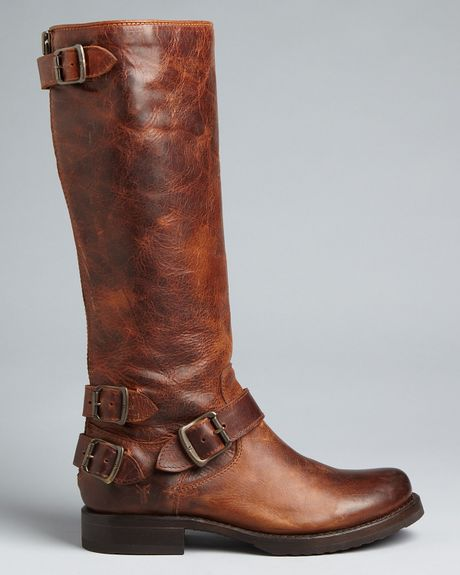Frye Tall Buckled Strap Flat Boots Veronica Back Zip In