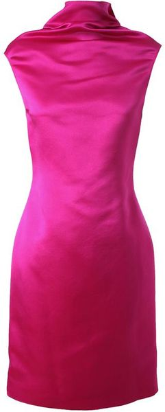 Lanvin Structured Silk Dress in Pink