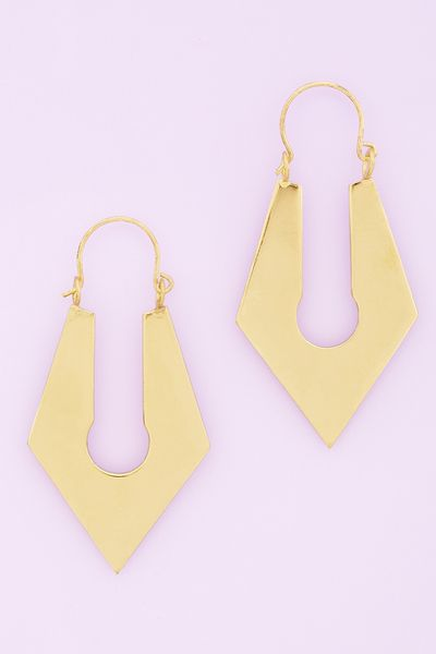 Nasty Gal Sharp Lock Earrings in Gold - Lyst