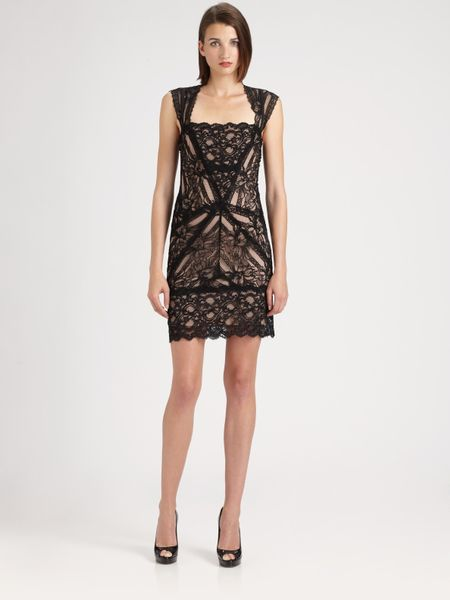 Nicole Miller Stretch Lace Dress In Black Lyst
