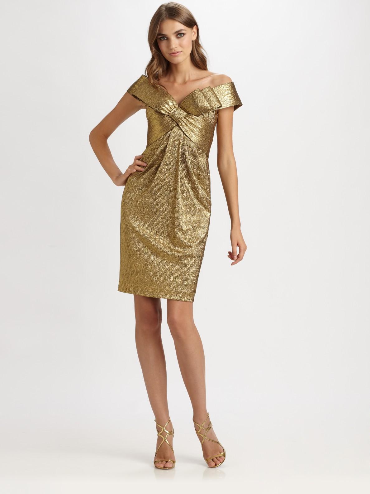 Notte By Marchesa Offtheshoulder Lam 233 Dress In Metallic Lyst