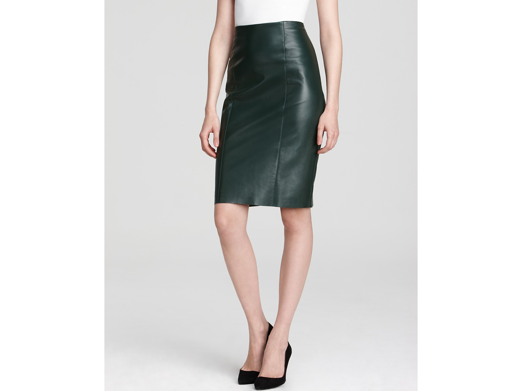 sachin babi leather skirt lara pencil in green emerald