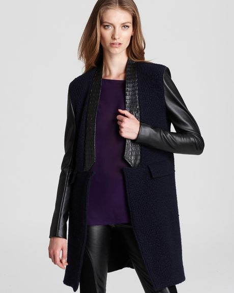Sachin & Babi Noah with Leather Sleeves Trim Jacket  in Black (midnight)