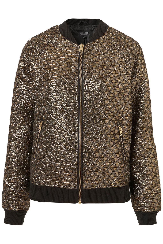 Topshop Gold Futurism Bomber Jacket in Black | Lyst