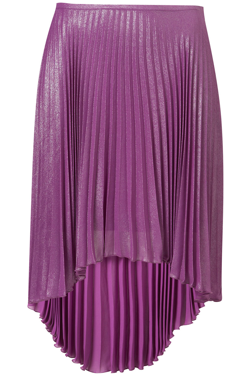 Topshop Shiney Purple Pleated Skirt in Purple | Lyst