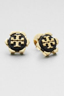 Tory Burch Walter Logo Button Earrings - Lyst