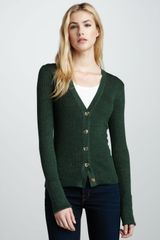 Tory Burch Shrunken Simone Cardigan Malachite Mouline - Lyst