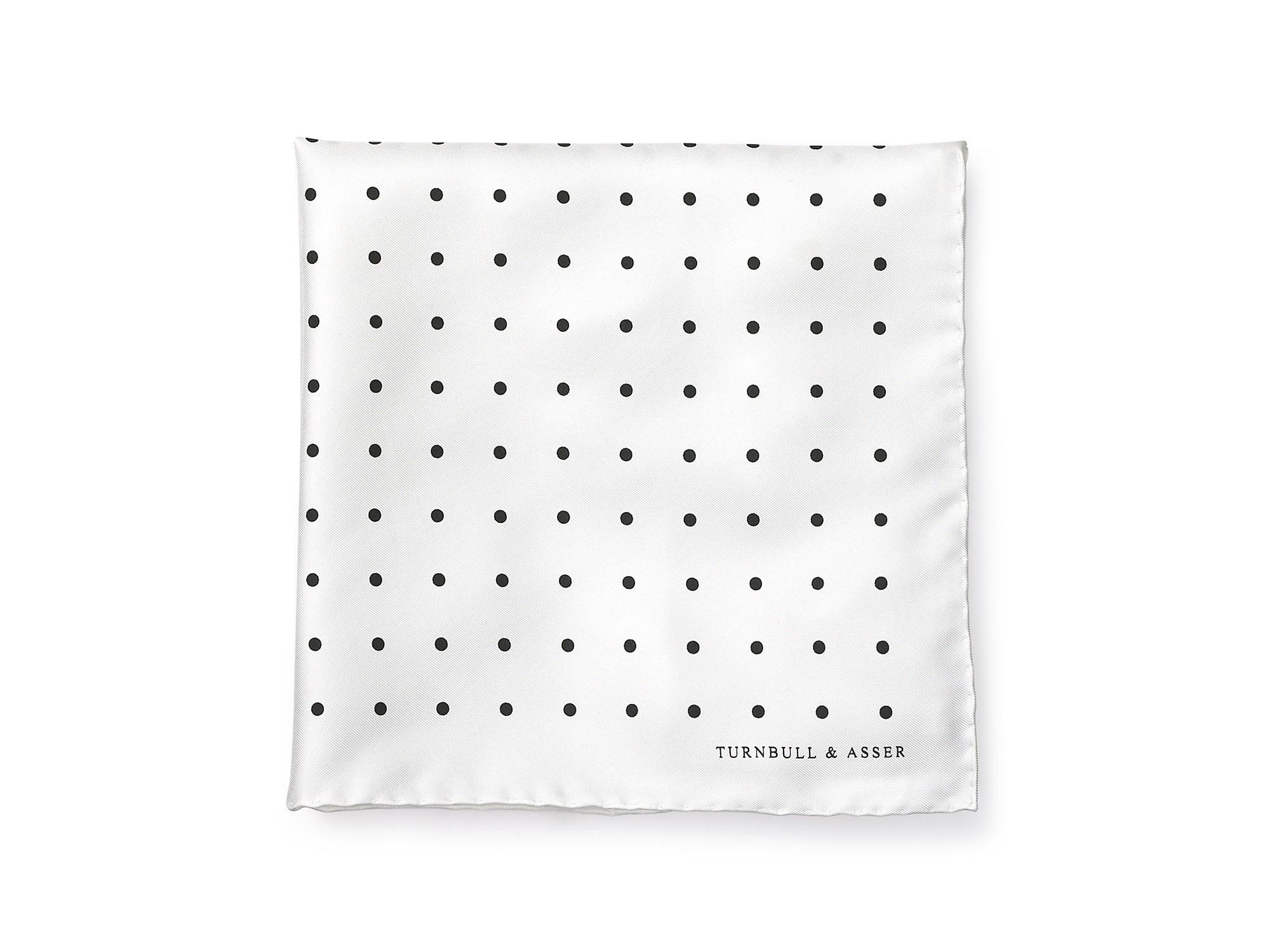 15980f0c7137 Turnbull & Asser Polka Dot Pocket Square in White for Men - Lyst