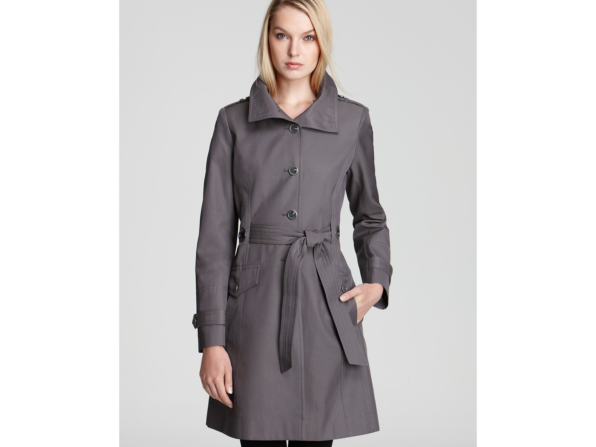 Lyst Via Spiga Nicoletta Stand Collar Trench Coat In Black