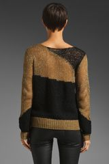 Alice + Olivia Opal Novelty Stitch Pullover in Beigeblack in Black (beige & black) - Lyst