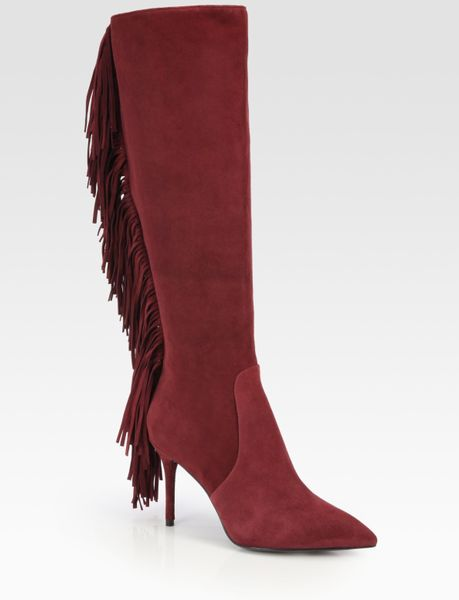 b brian atwood mella suede fringe kneehigh boots in