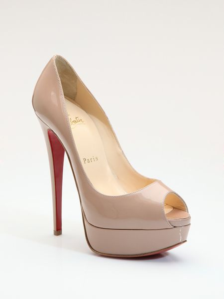 Christian Louboutin Lady Peep Toe Patent Leather Pumps in Beige (nude) - Lyst