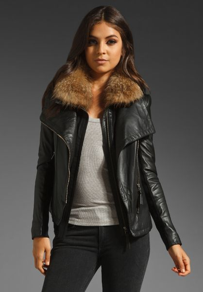 Jacket: leather fur black jacket, leather jacket, black leather jacket
