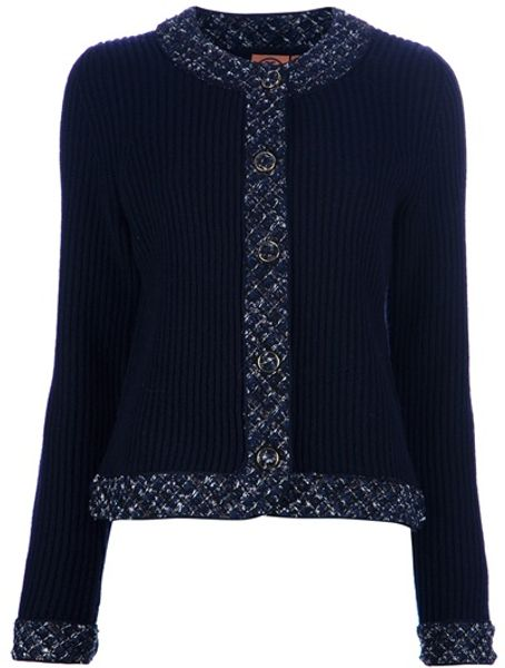 Tory Burch Tweed Trim Cardigan in Blue - Lyst