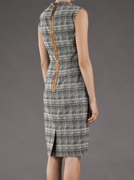 Lela Rose Blurred Plaid Dress in Gray (charcoal) - Lyst