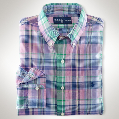 10f7441dc ... coupon code coupon code for lyst polo ralph lauren custom fit pink plaid  madras shirt in