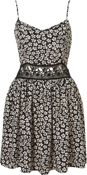 Topshop Floral Crochet Waist Sun Dress - Lyst