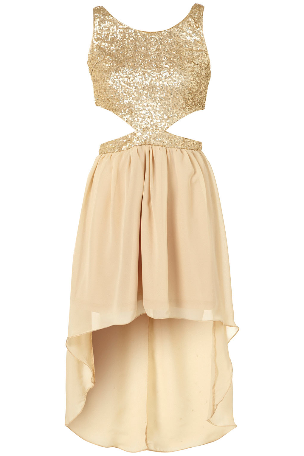 049d0d72b51 TOPSHOP Sequin Cut Out Dress By Rare in Metallic - Lyst