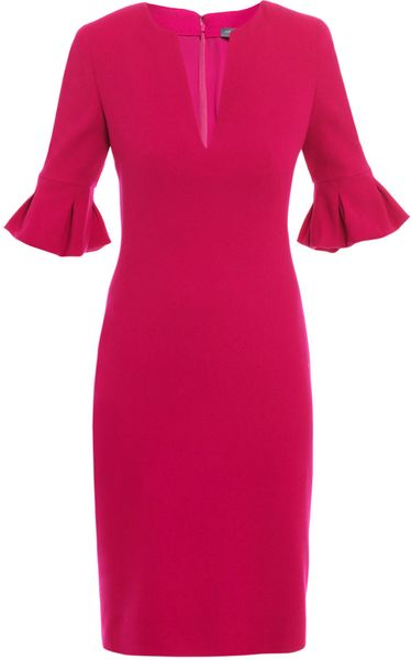 Alexander Mcqueen Petal Sleeve Dress in Pink (fuchsia) - Lyst