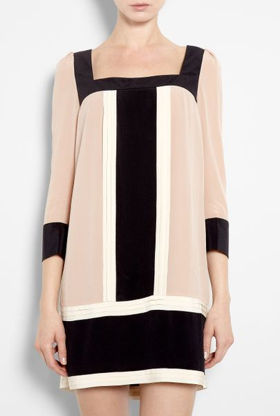 Alice By Temperley Rose Color Block Silk Tunic Dress in Pink (rose)