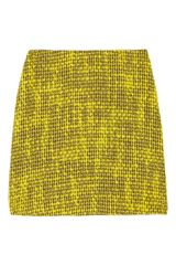 Alice + Olivia Bouclé Mini Skirt in Yellow - Lyst