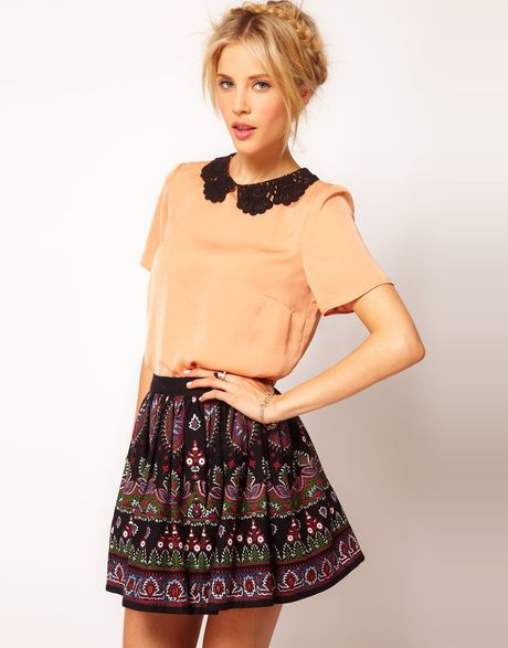 Asos Collection  T-Shirt with Contrast Crochet Collar in Orange (peach) - Lyst