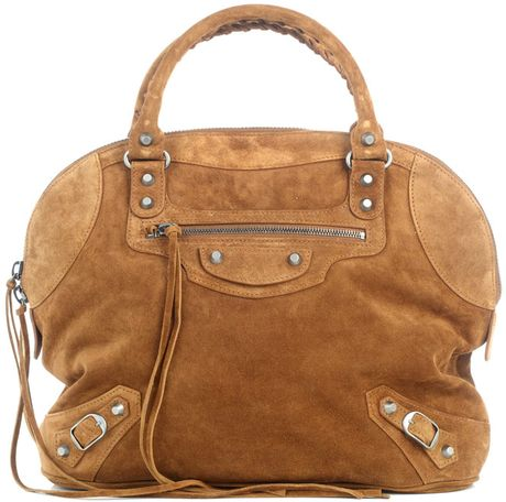 Balenciaga Classic Suede Bowling Bag in Brown (tan) - Lyst