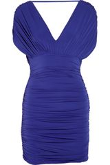 Bcbgmaxazria Nevis Ruched Jersey Dress in Blue - Lyst