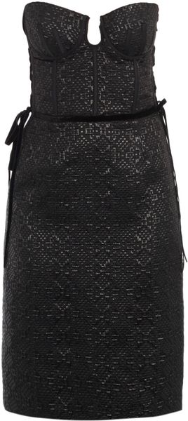 Bottega Veneta Bustier Woven Dress in Black