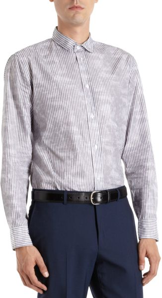 bottega veneta striped small collar dress shirt in black