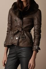 Burberry Brit Shearling Collar Quilted Leather Jacket - Lyst