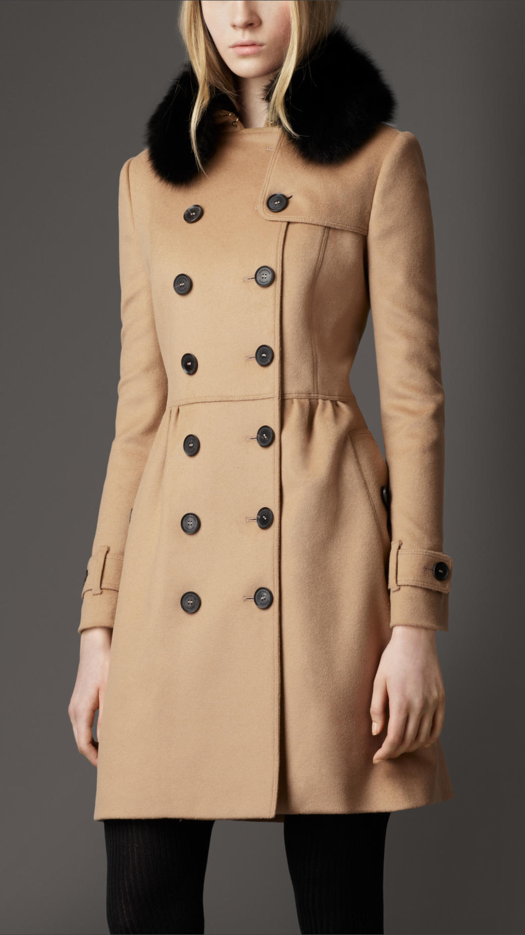 Burberry Midlength Wool Cashmere Fur Collar Trench Coat in Natural