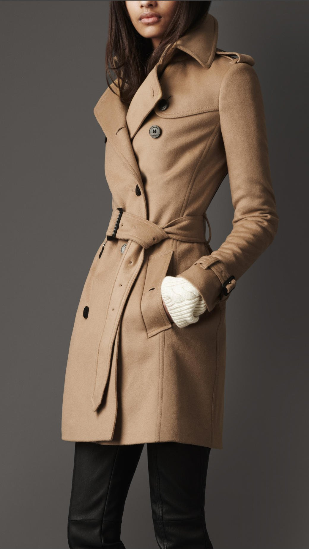 Burberry Midlength Wool Cashmere Trench Coat in Natural | Lyst
