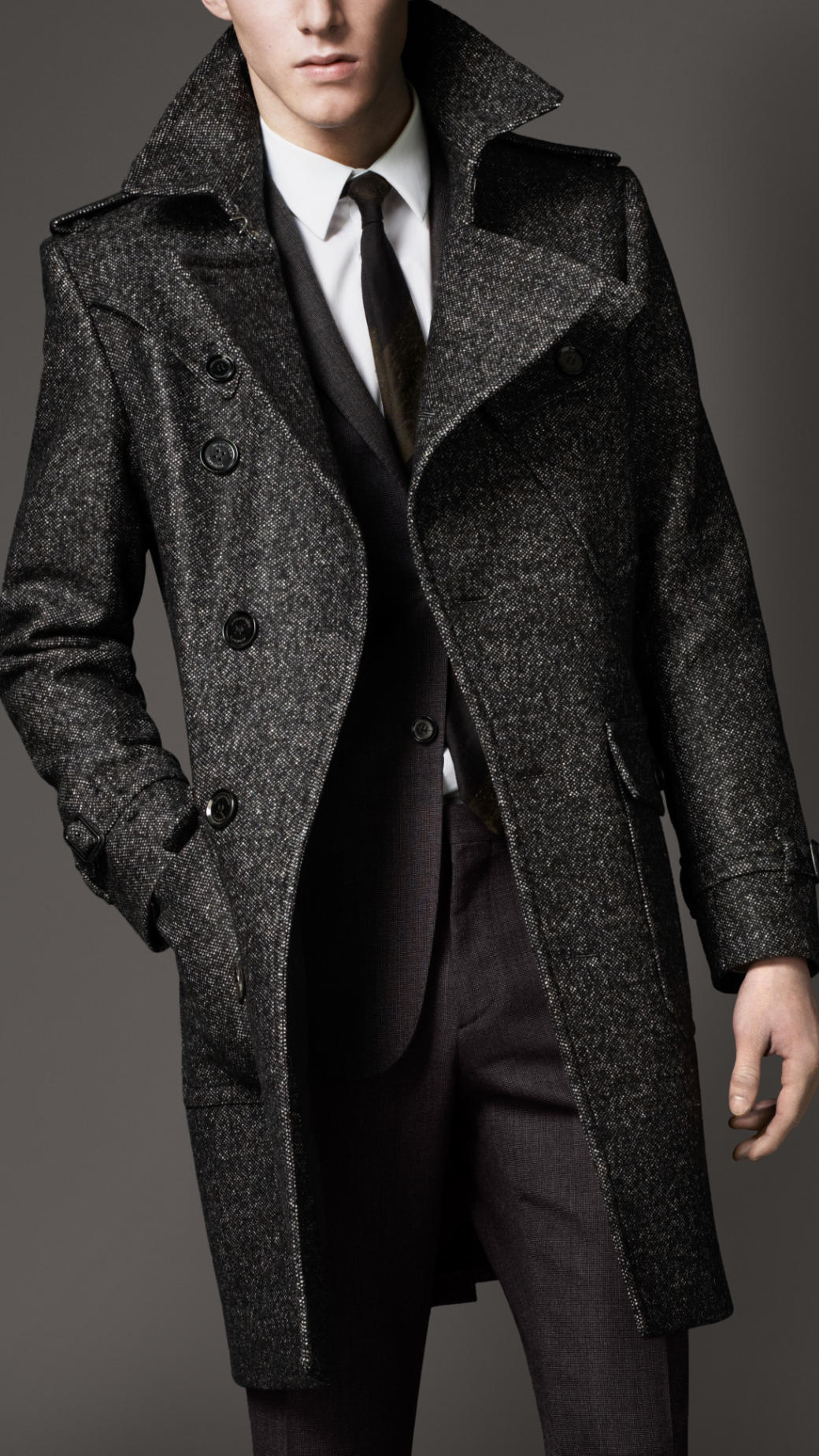 Burberry Wool Tweed Belted Coat In Gray For Men Lyst