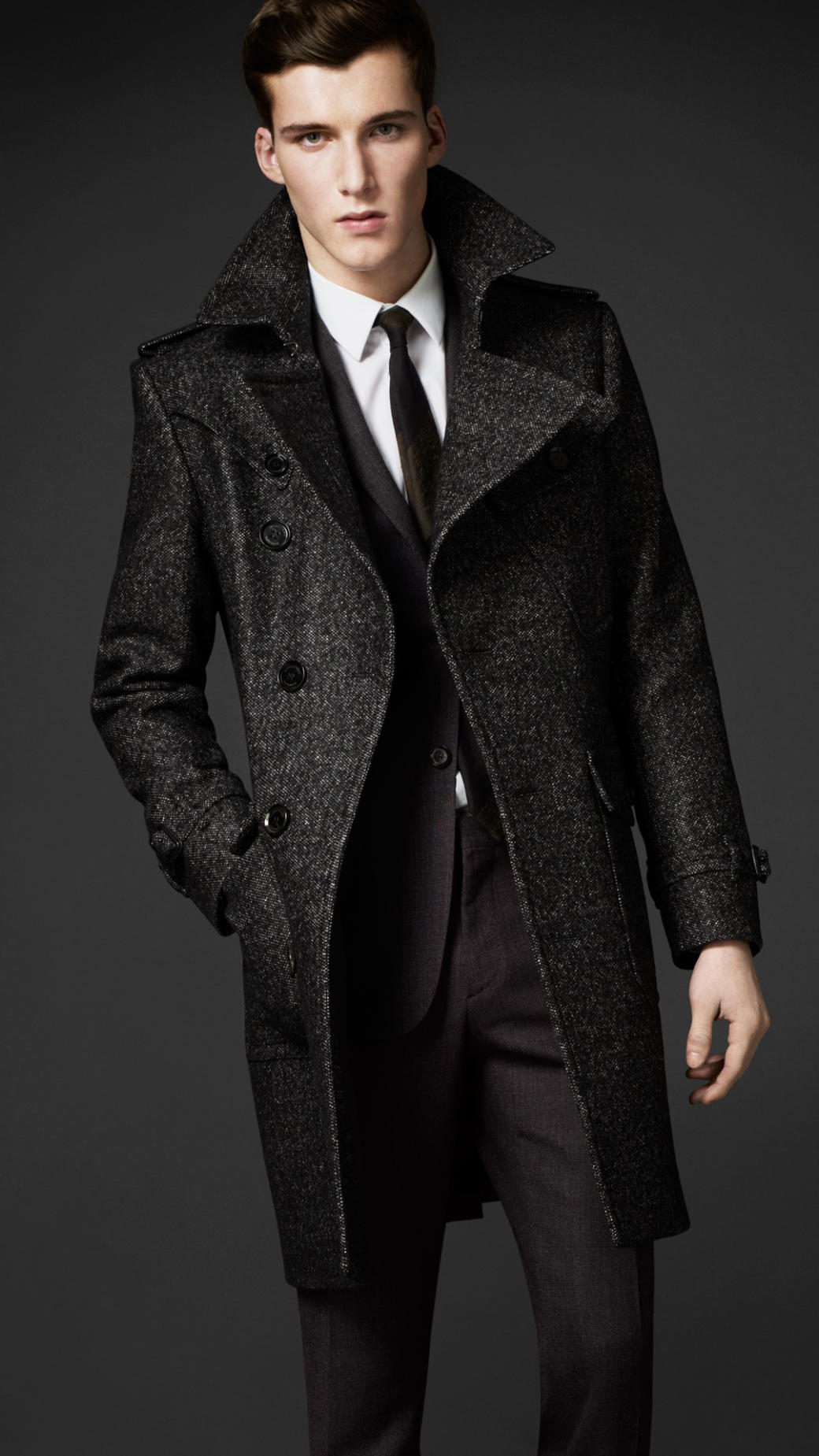 Burberry Wool Tweed Belted Coat in Gray for Men | Lyst