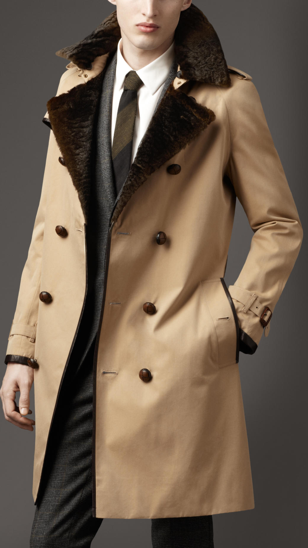 Lyst Burberry Long Fur Collar Cotton Trench Coat In