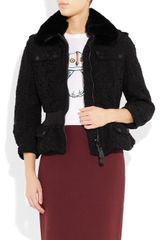 Burberry Prorsum Rabbit Collar Lace Jacket in Black - Lyst