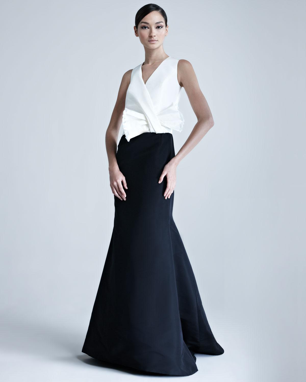 Lyst Carolina Herrera Silk Faille Combo Gown In White
