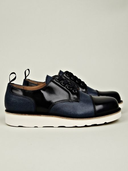 carven leather mix shoe with vibram sole in blue for